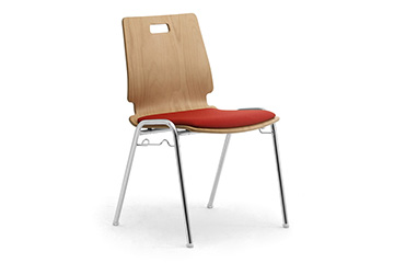 stackable single shell chair with linking device Cristallo